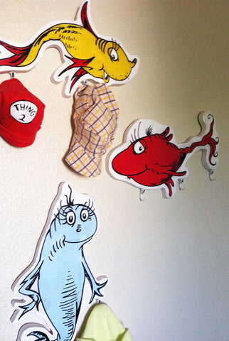 "Wall Hanging Dr. Seuss Inspired ""One Fish Two Fish"" Character Painting Hat racks"