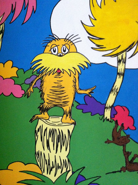 Dr seuss inspired lorax mural mama 39 s magination for Dr seuss mural