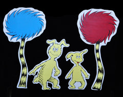 Wall Hanging Dr Seuss Inspired, Icabod & Izzy Character Painting with Truffula Trees
