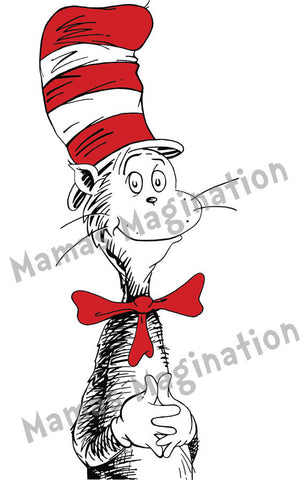 Dr. Seuss inspired, Cat In The Hat Removable/Reusable vinyl decal