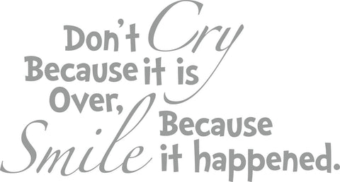 Dr. Seuss Cry Smile Quote Removable/Reusable Vinyl Decal