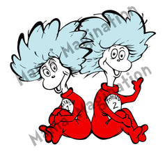 Dr. Seuss inspired Thing 1 & Thing 2 removable/reusable vinyl decals