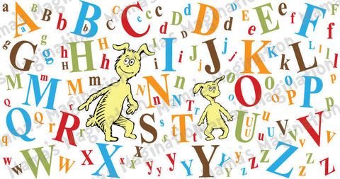 Dr. Seuss inspired Alphabet Izzy & Ichabod Removable/Reusable Vinyl Mural Decal