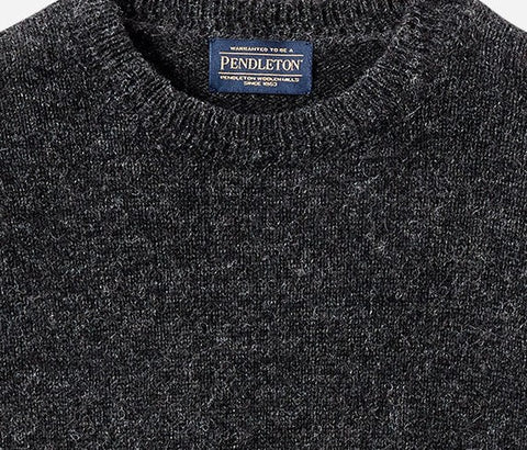 PENDLETON SHETLAND CREW SWEATER HEATHER BLACK