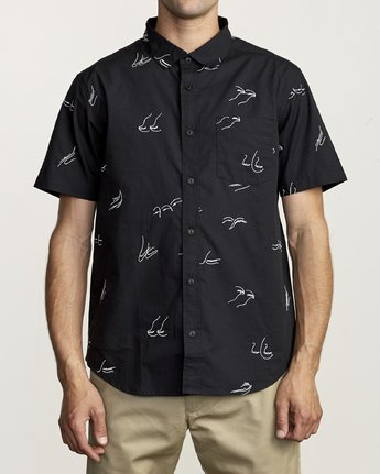RVCA JOHANNA GESTURES BUTTON UP SHIRT BLACK