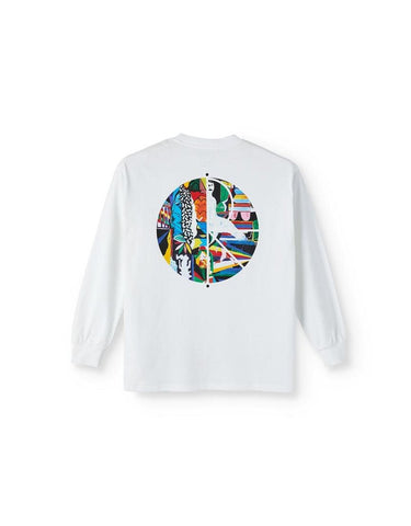 POLAR SKATE CO. MEMORY PALACE FILL LOGO LONG SLEEVE WHITE