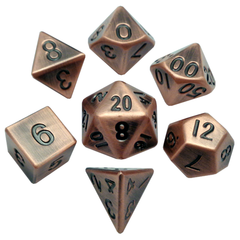Metal Dice : 16mm Antique Polyhedral Sets