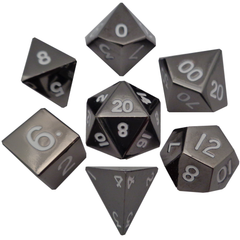 Metal Dice: 16mm Shiny Plated Polyhedral Dice Sets