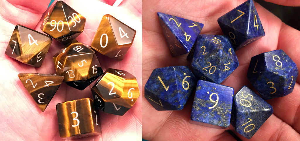 Engraved 16mm Gemstone Sets: Tiger's Eye and Lapis Lazuli