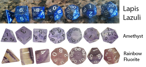 Luxury Tier Gemstone Polyhedral Dice Sets