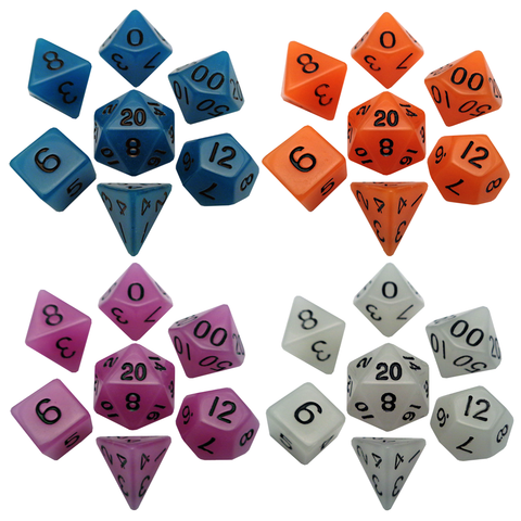 Acrylic Dice : Glow in the Dark Polyhedral Sets