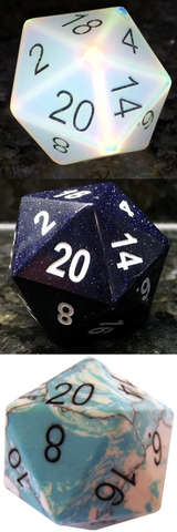 35mm Engraved Mega Gemstone d20's: First Tier