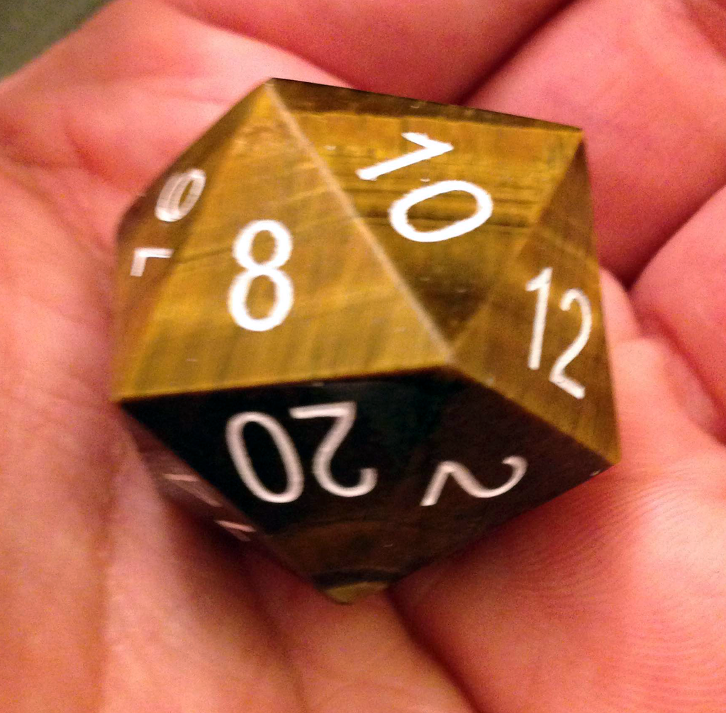 35mm Engraved Mega Gemstone d20's: Tiger's Eye