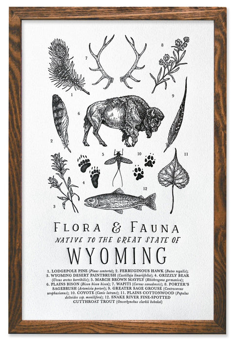 Wyoming Field Guide Letterpress Print