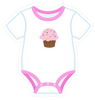 Onesie Pink with Cupcake