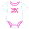 Onesie Pink with Skull
