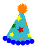 Party Hat Blue with Stars