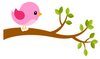 Pink Bird on Branch