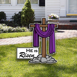 He is Risen w/ Cross - HIR001