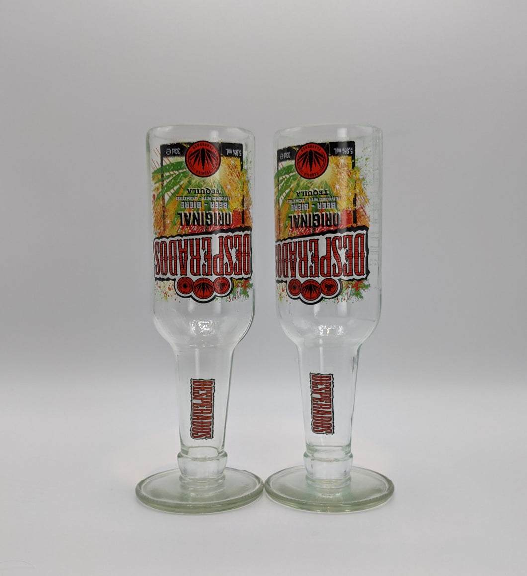 Desperados beer bottle tall glasses (pair)