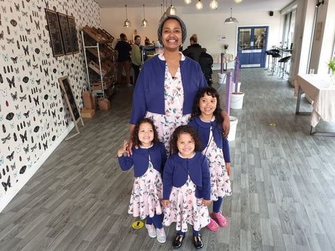 Mina with her daughters in their handmade matching outfits for Eid 2021