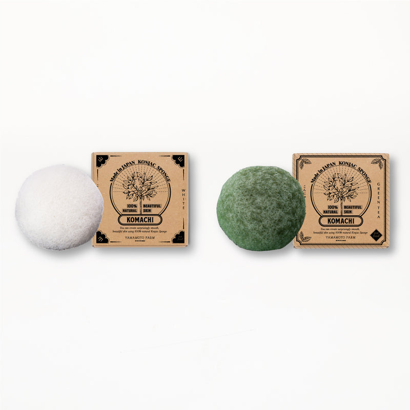 Konjac Sponge KOMACHI White 3 pieces /Green Tea 3 pieces  total:6pieces