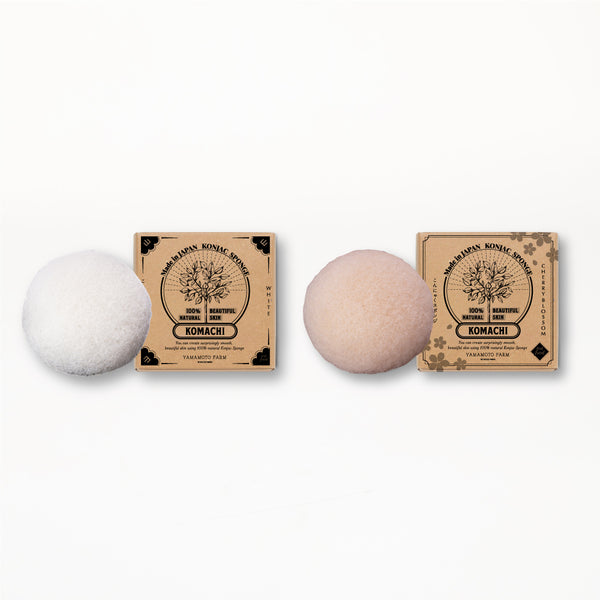 Konjac Sponge KOMACHI White 3 pieces /Cherry Blossom 3 pieces  total:6pieces