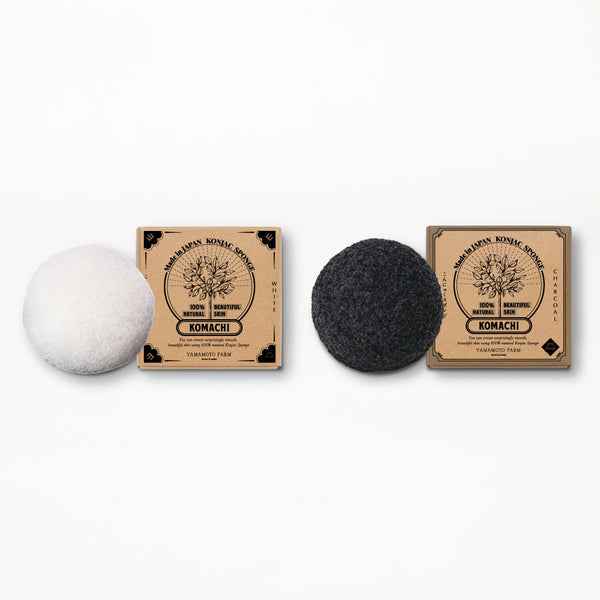 Konjac Sponge KOMACHI White 3 pieces /Charcoal 3 pieces  total:6pieces