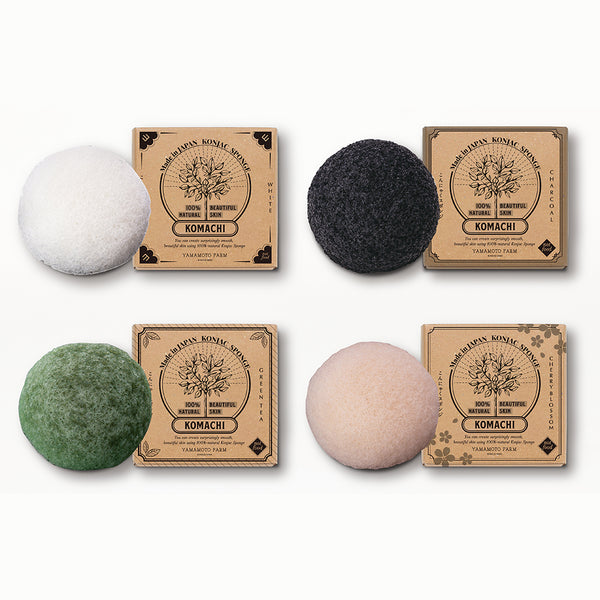 Konjac Sponge KOMACHI White 3 pieces /Charcoal 1 piece/Green Tea 1 piece/Cherry Blossom 1 piece  total:6pieces