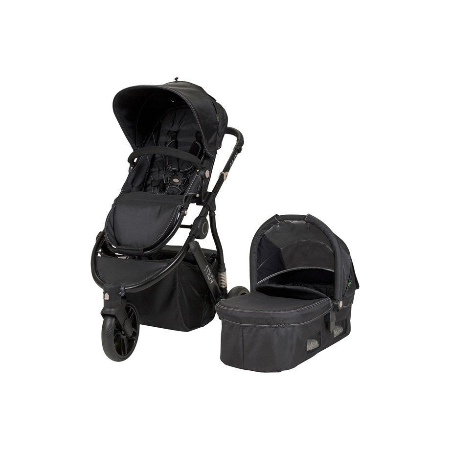 Muv Gaan 3 Wheel Stroller Black Frame with Bassinet - Mystic Black