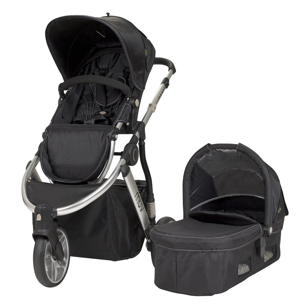 Muv Gaan 3 Wheel Stroller Silver Frame with Bassinet - Mystic Black