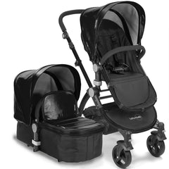 Baby Roues Letour Lux II Stroller - Black Leatherette (Black Frame)
