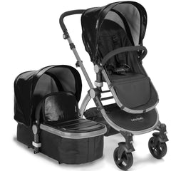 Baby Roues Letour Lux II Stroller - Black Leatherette (Frosted Frame)