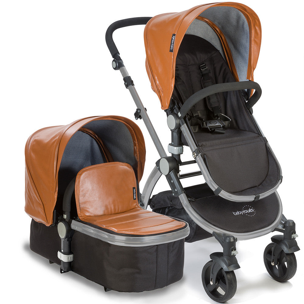 Baby Roues Letour Lux II Stroller - Camel Leatherette (Frosted Frame)