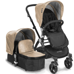 Baby Roues Letour Lux II Stroller - Tan Leatherette (Black Frame)
