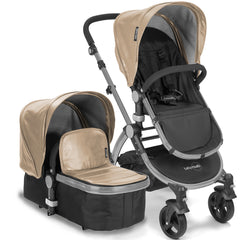 Baby Roues Letour Lux II Stroller - Tan Leatherette (Frosted Frame)