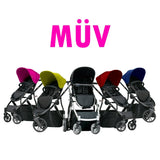 Muv Reis 4 Wheel Stroller Black Frame with Bassinet