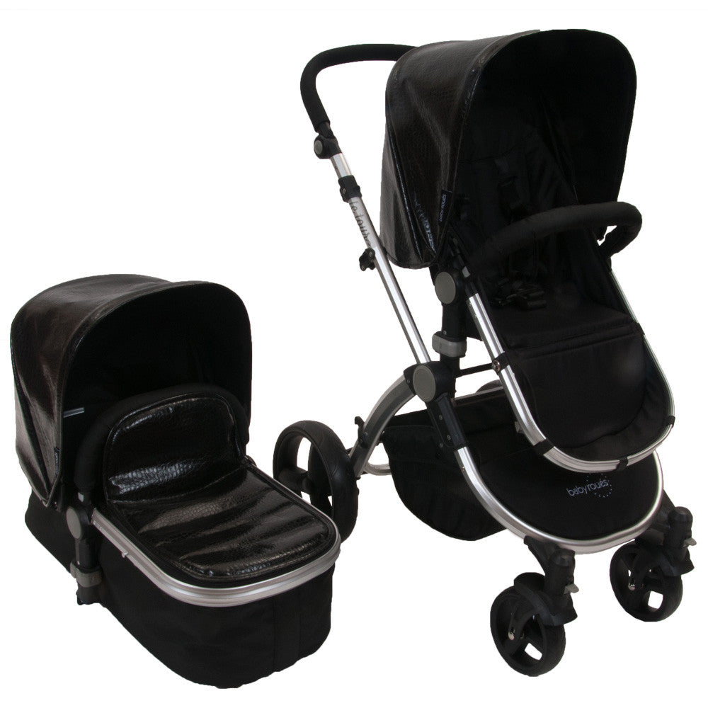 Baby Roues Letour Lux II Classique Collection Stroller - Croco Black Frosted