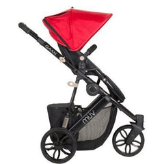 Muv Gaan 3 Wheel Stroller Black Frame with Bassinet - Cabernet