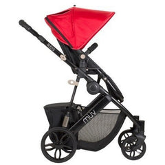 Muv Reis 4 Wheel Stroller Black Frame with Bassinet - Cabernet