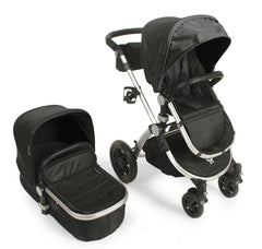 Baby Roues Le Tour Avant Luxe Leatherette Stroller - Silver Frame in Licorice