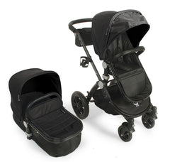 Baby Roues Le Tour Avant Leatherette Classic Stroller - Black Frame in Onyx