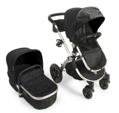 Baby Roues Le Tour Avant Leatherette Classic Stroller - Silver Frame in Onyx
