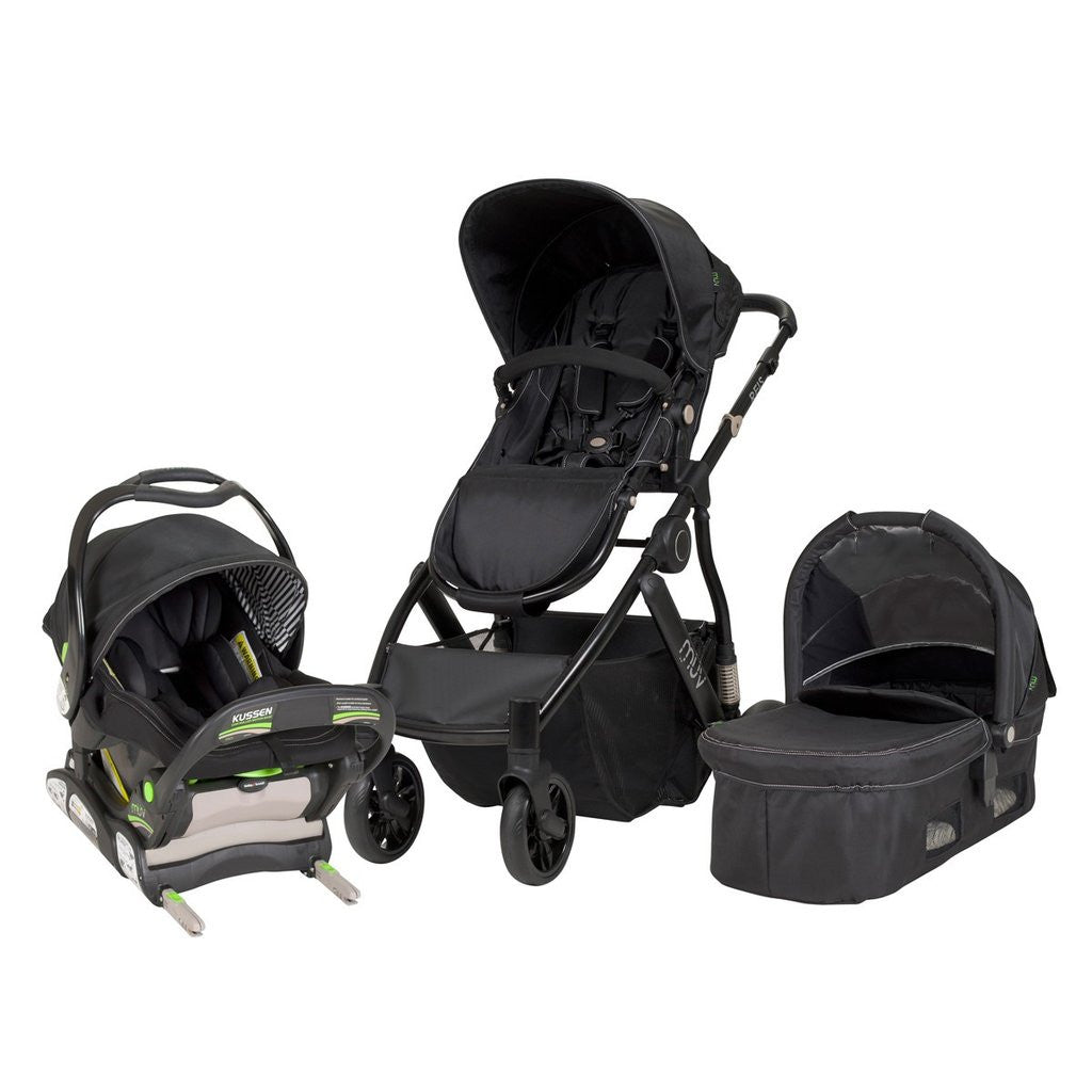 MUV REIS Travel System with Car Seat and Bassinet (Satin Black)