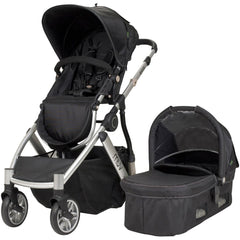 Muv Reis 4 Wheel Stroller Silver Frame with Bassinet - Mystic Black