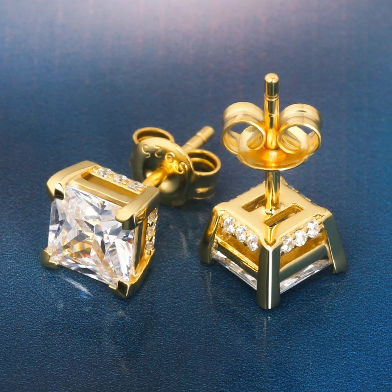 14K Square-Cut CZ Stud (6mm)