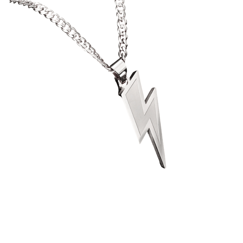 Lightning Bolt Pendant 14K White Gold