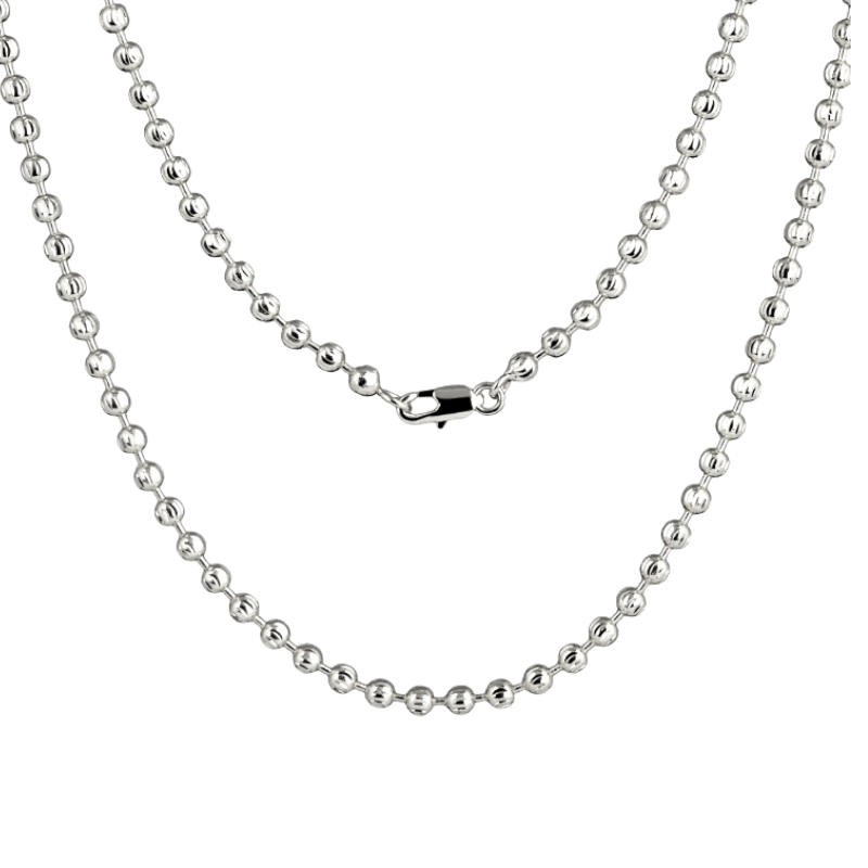 White Gold Ball Link Chain Necklace