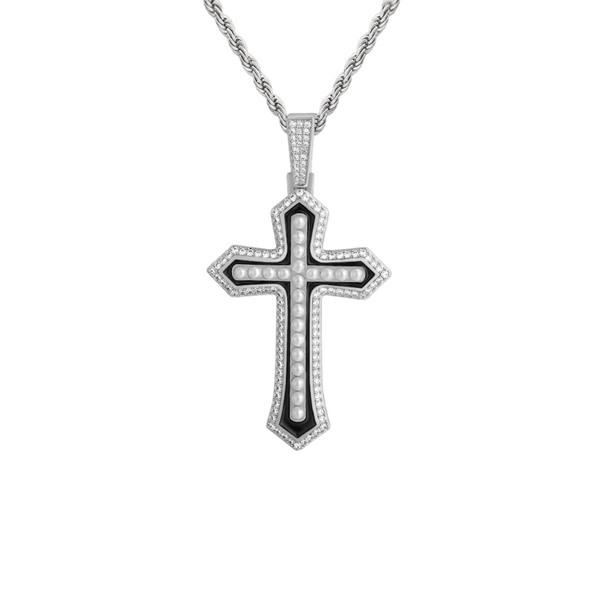 Iced Small Pearl Cross Pendant w/ Rope Chain