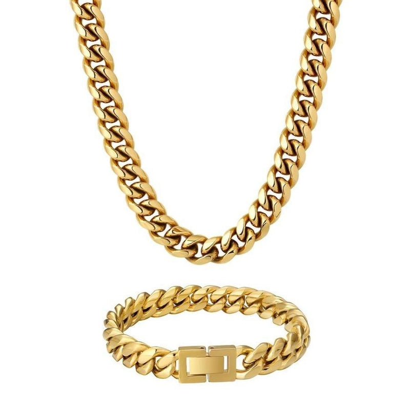 18K Gold Cuban Link Chain and Bracelet